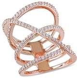 Allura 1.06 CT. T.W. Cubic Zirconia Openwork Crossover Ring in Pink Plated Sterling Silver