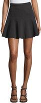 Halston Drop-Waist Fit-and-Flare Skirt, Black