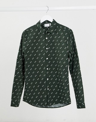 ASOS DESIGN skinny fit geo print shirt in teal