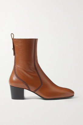 Chloé Goldee Leather Ankle Boots - Camel