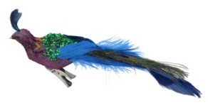 """Northlight 8"""" Purple Blue and Green Sequins Peacock Bird Clip-On Christmas Ornament"""