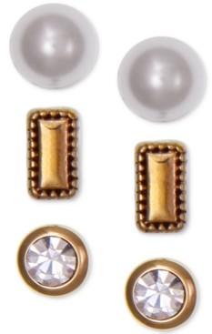 Laundry by Shelli Segal Gold-Tone 3-Pc. Set Crystal & Imitation Pearl Stud Earrings