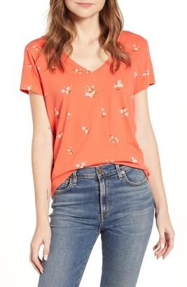 Lucky Brand Floral V-Neck T-Shirt