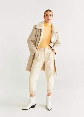 MANGO Faux shearling-lined lapel coat light/pastel grey - S - Women