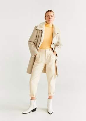 MANGO Faux shearling-lined lapel coat