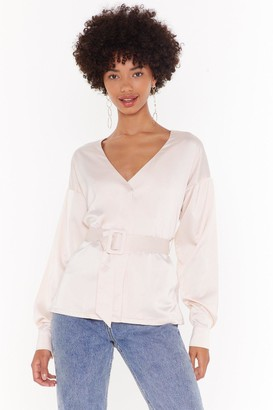 Nasty Gal Womens No Time to Waist Satin Belted Blouse - Nude