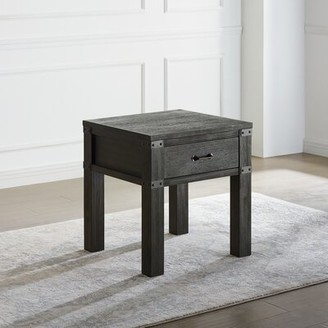 Union Rustic Kaitlin 1 - Drawer End Table with Storage Color: Black
