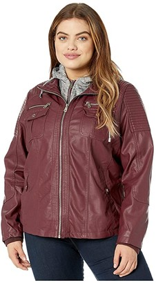 YMI Snobbish Plus Size Faux Leather Jacket with Detachable Sweater Hood (Sangria) Women's Clothing