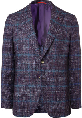 Isaia Slim-Fit Unstructured Checked Boucle Blazer