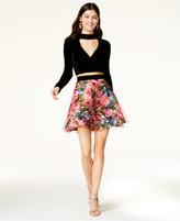 Trixxi Juniors' Velvet Mock-Neck Top and Printed Skirt Set