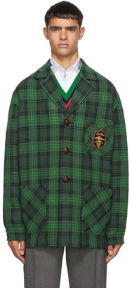 Gucci Green Check Wool Crest Jacket