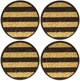 Thirstystone Dark Cork Coasters with Gold Stripes (Set of 4)