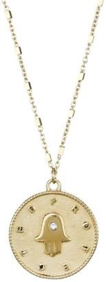 Jennifer Zeuner Jewelry Tamar 14K Yellow Gold Vermeil & Diamond Hamsa Medallion Necklace