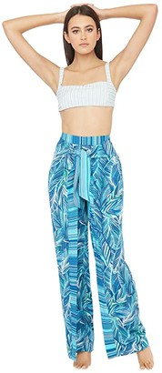 La Blanca Sketched Leaves Tie Front Side Slit Pants Swimsuit Cover-Up (Poolside) Women's Swimwear