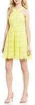 Daniel Cremieux Natalie Daisy Halter Neck Solid Organza Fit & Flare Dress