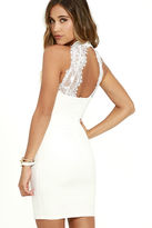 Solemio Endlessly Alluring White Lace Bodycon Dress