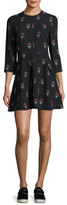 A.L.C. Terry 3/4-Sleeve Printed Silk Mini Dress, Black