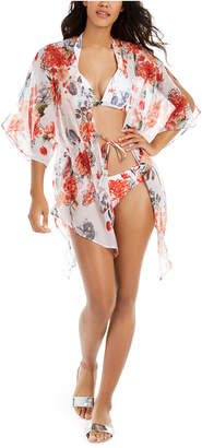 Rachel Roy White Floral Printed Tie-Front Kimono Cover-Up Women Swimsuit
