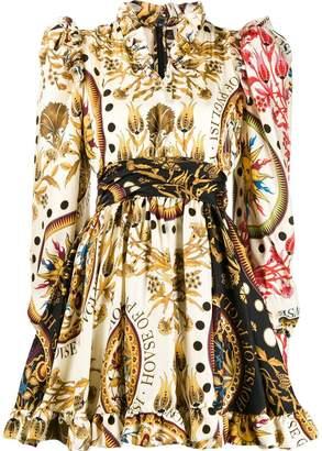 Fausto Puglisi multicolored ruffle trim dress