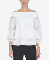 CeCe Off-The-Shoulder Eyelet Top