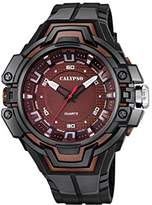 Calypso Unisex Quartz Watch with Red Dial Analogue Display and Black Plastic Strap K5687/6
