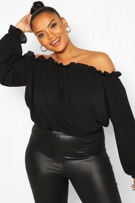 boohoo Plus Bardot Woven Bodysuit