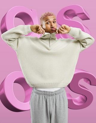 ASOS DESIGN knitted oversized rib half-zip jumper in ecru