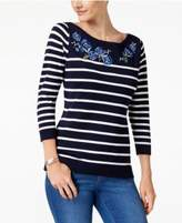 Karen Scott Floral-Patch Sweater, Created for Macy's
