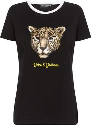 Dolce & Gabbana Cotton Leopard Print T-Shirt