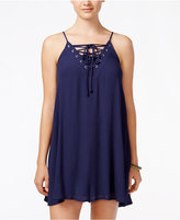 Trixxi Juniors' Lace-Up Textured Shift Dress