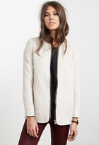 Forever 21 FOREVER 21+ Collarless Zip-Front Jacket