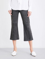 St. John Wide-leg cropped suede trousers