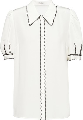Miu Miu Scalloped-Embroidery Short-Sleeve Shirt