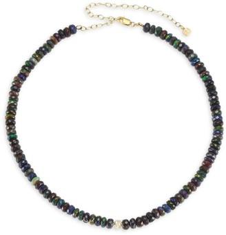 Sydney Evan 14K Yellow Gold, Black Blue Ethiopian Opal & Diamond Pave Ball Beaded Choker