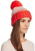 Kate Spade Hand Knit Color Block Beanie with Pom-Pom