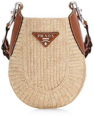 Prada Small Raffia Hobo Bag