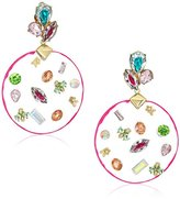 Betsey Johnson Multi-Charm Large Round Lucite Drop Earrings