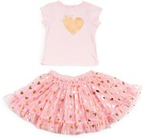 Amy Coe Girls' Crowned Heart Tee & Skirt Set - Sizes 2-6X