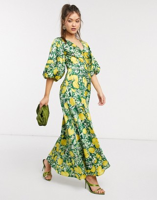 ASOS DESIGN satin trapeze maxi dress with puff sleeves in lemon print