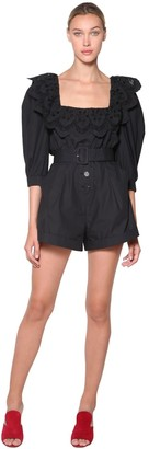 Self-Portrait Poplin Playsuit W/lace Collar