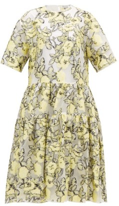 Cecilie Bahnsen Elliemay Tie-back Floral Fil-coupe Organza Dress - Womens - White Multi
