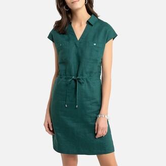 Anne Weyburn Linen Short-Sleeved Shift Dress