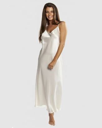 Love and Lustre - Women's White Chemises - Long Silk Slip - Size One Size, 14 at The Iconic