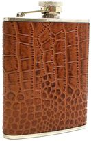 "Bey-Berk Croco"" Brown Leather Flask"