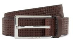 HUGO BOSS Pin-buckle belt in leather with embossed woven effect