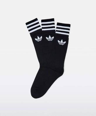 adidas Solid Crew Socks Black White