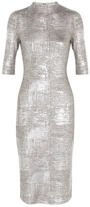 Alice + Olivia Delora Silver Stretch-jersey Midi Dress