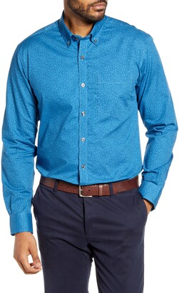 Cutter & Buck Strive Classic Fit Leaf Print Button-Down Shirt