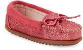 Minnetonka Toddler Girls) Hot Pink Glitter Moccasins