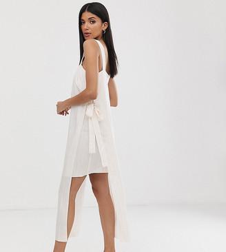 Asos DESIGN Tall square neck cami maxi dress in self-stripe